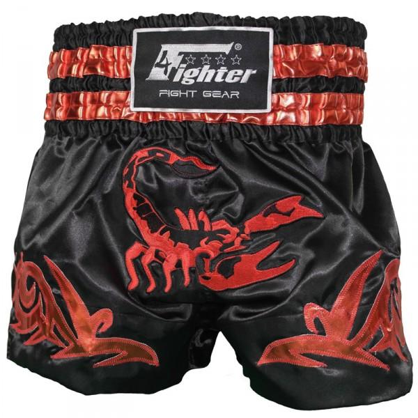 4Fighter Muay Thai Shorts / Kick Thaibox Hose Scorpion schwarz gold rot XXS - XXL