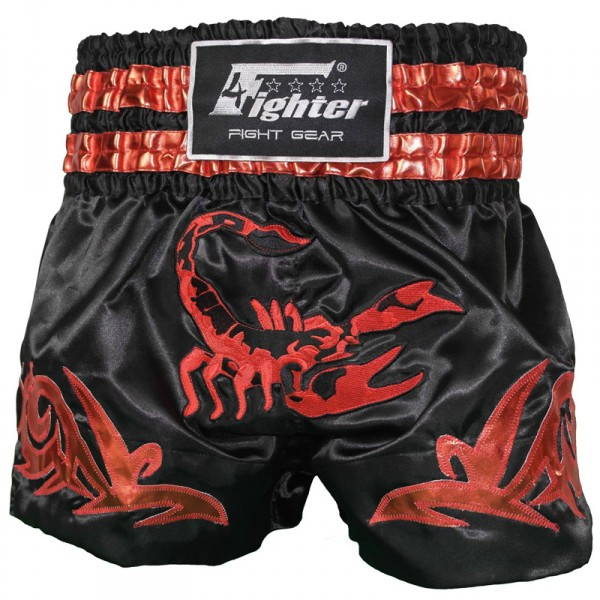 4Fighter Muay Thai Shorts / Kick Thaibox Hose Scorpion schwarz gold rot XXS - XXL – Bild 1
