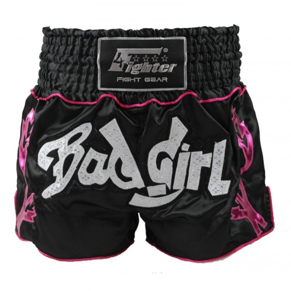 4Fighter Bad Girl Muay Thai Shorts Kick- Thaibox Hose schwarz-pink mit pinken Outlines