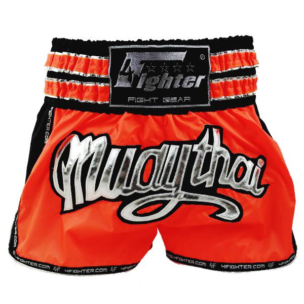 4Fighter Muay Thai Shorts / Kickbox Hose Neon orange schwarz mit silbernen Muay Thai Schriftzug