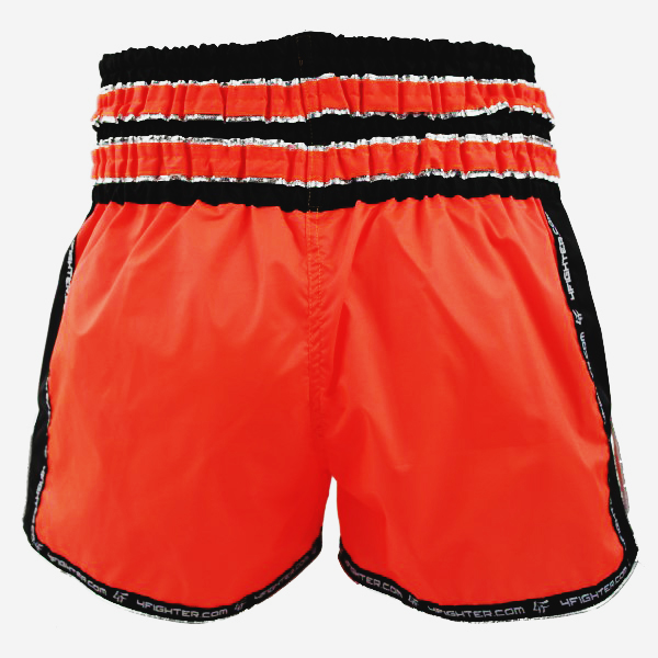 4Fighter Shorts Muay Thai Shorts Pantalones kickbox neon naranja negro con la inscripción Muaythai – Bild 3