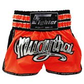 4Fighter Muay Thai Shorts / Kickboxing Trunks neon orange schwarz with silver Muay Thai lettering