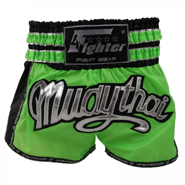 4Fighter Shorts Muay Thai / pantalones kickbox neon verde negro con la inscripción Muay Thai – Bild 1