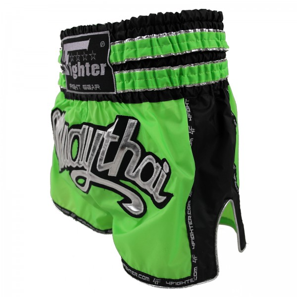 4Fighter Muay Thai Shorts / Kickboxing Trunks neon green black with muay thai lettering – image 2