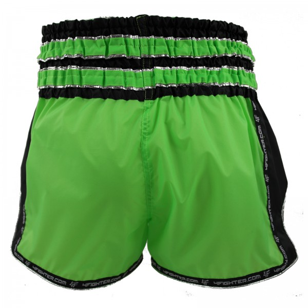 4Fighter Muay Thai Shorts / Kickboxing Trunks neon green black with muay thai lettering – image 3