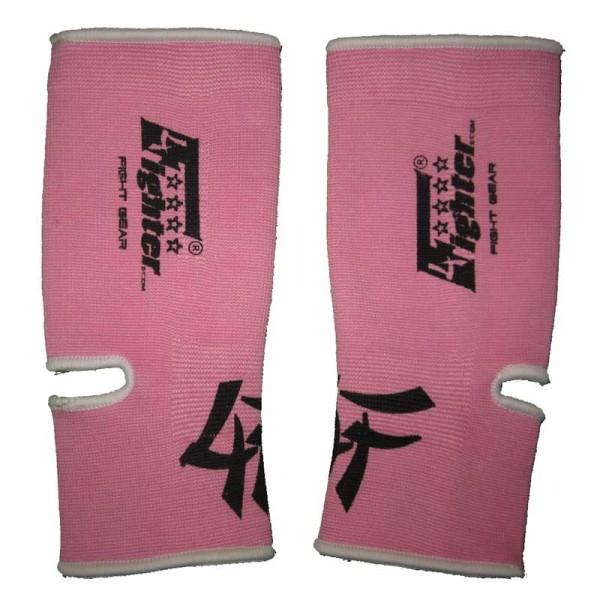 4FIGHTER Lady Knöchelbandagen / Knöchelschoner elastisch rosa mit weißen Outlines