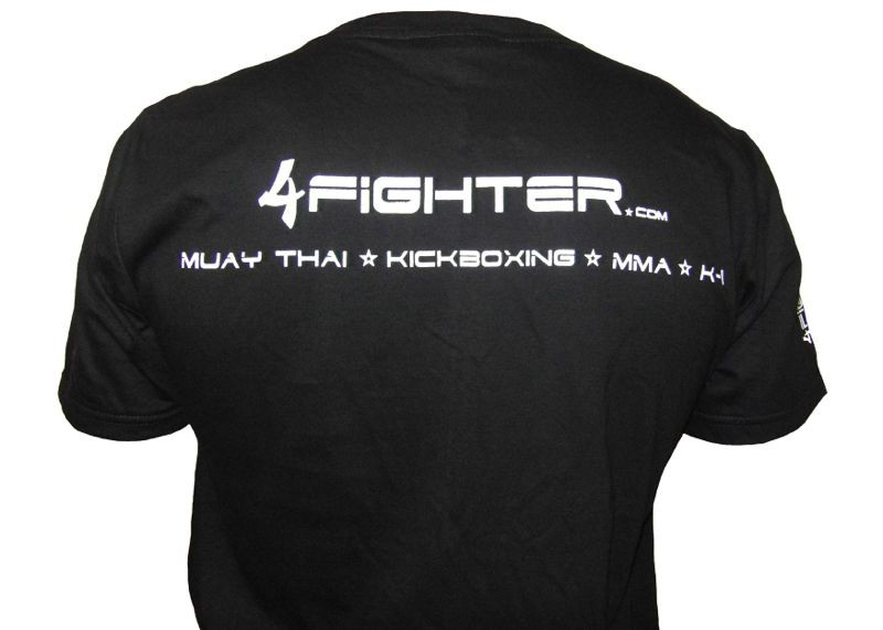 4Fighter T-shirt in black uni colors with white logo print  – image 2
