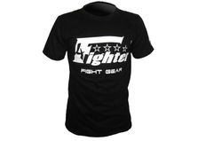 4Fighter T-shirt de color sólido negro con logo blanco de impresión