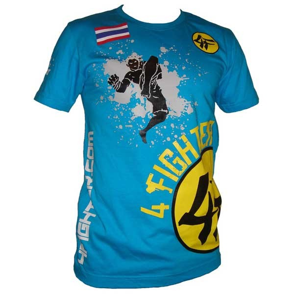 4Fighter T-Shirt Flying Knee RETRO blau mit modernen, stylishen Motiven