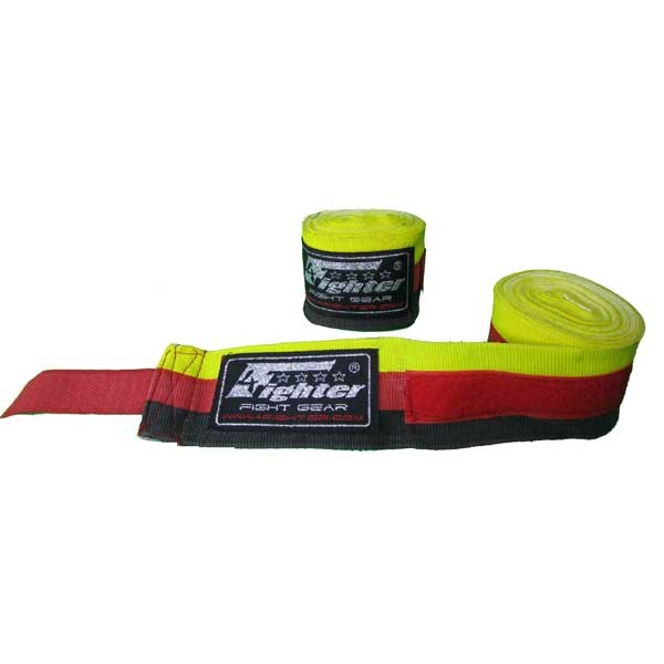 4Fighter Box bandages / handwraps 460cm semi-elastic Germany black-red-yellow