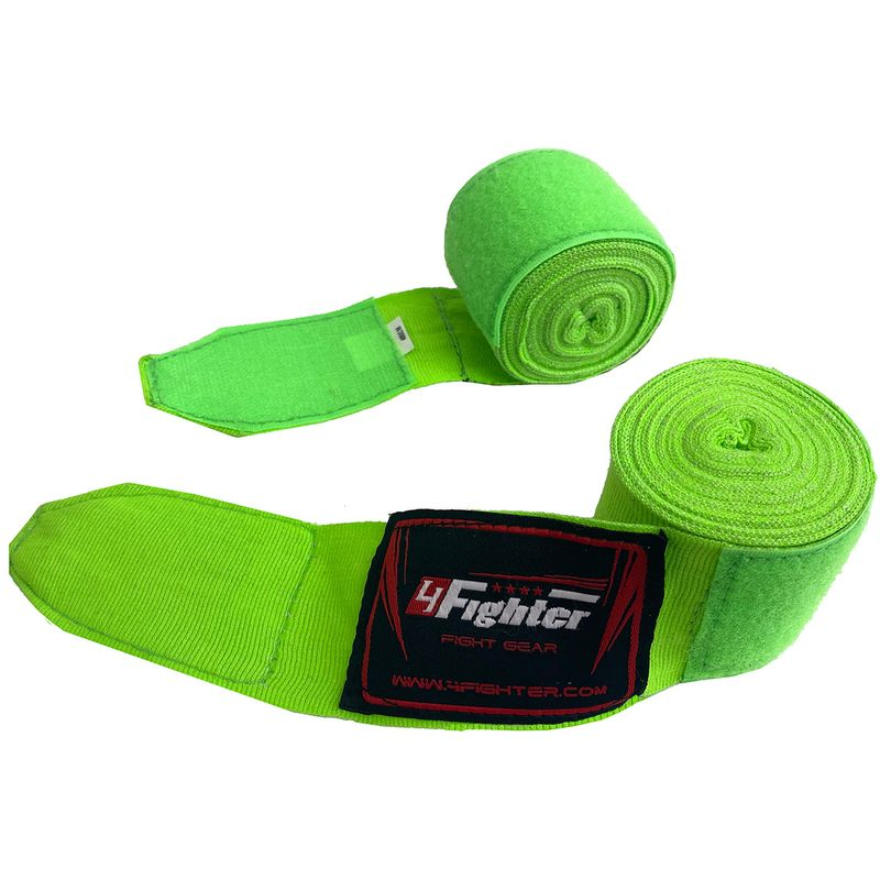 4Fighter Box bandages / handwraps 460cm elastic neon green – image 1