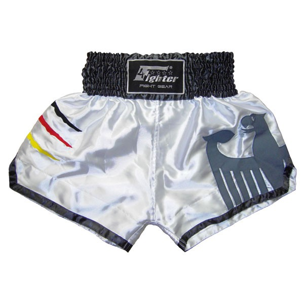 4Fighter Muay Thai Shorts National Germany in white World Cup Jersey Design