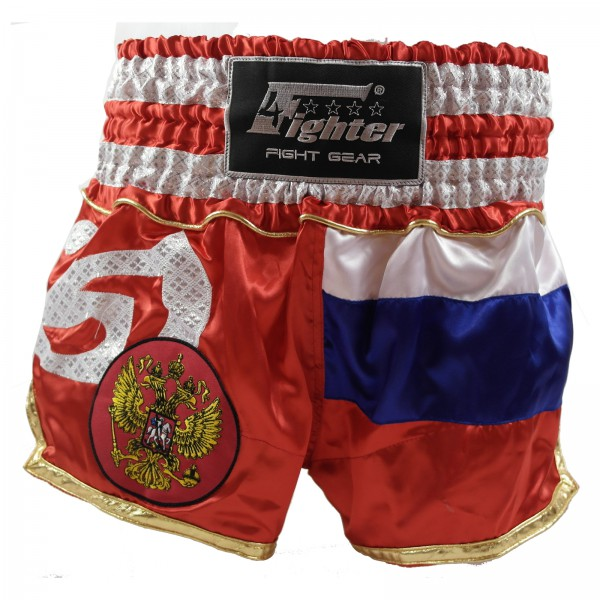 4Fighter Muay Thai Shorts National Russland mit Flagge und nationalem Wappen