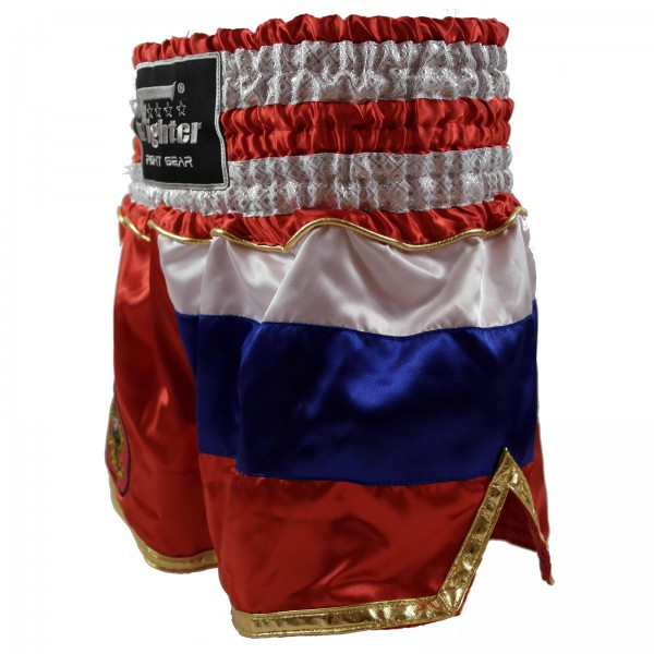 4Fighter Muay Thai Shorts National Russland mit Flagge und nationalem Wappen – Bild 2
