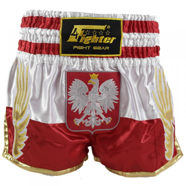 4Fighter Muay Thai Shorts National Polen / Polska im Design der National Flagge