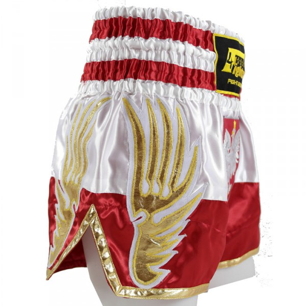 4Fighter Muay Thai Shorts National Polen / Polska im Design der National Flagge – Bild 4