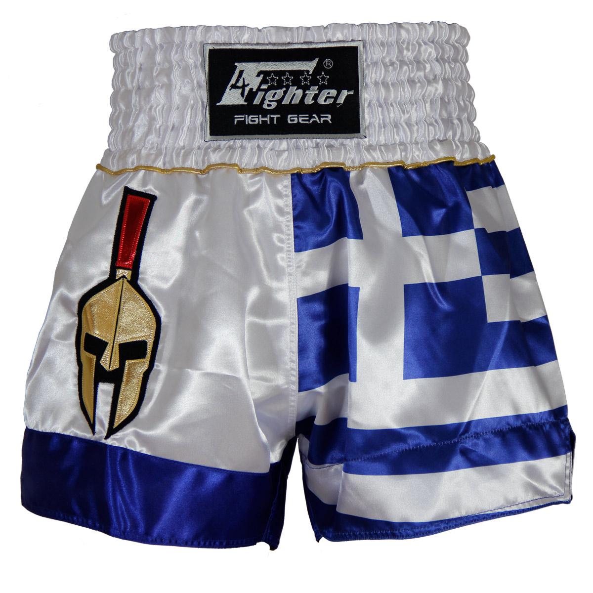4Fighter Muay Thai Shorts National Griechenland im Design der Nationalflagge