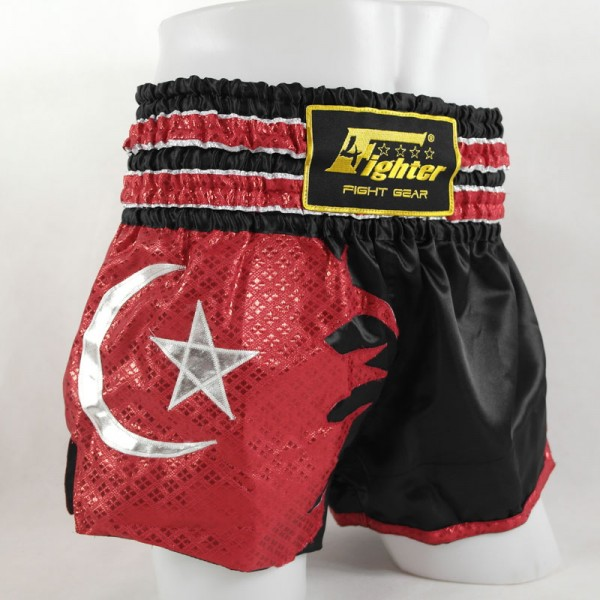 4Fighter Muay Thai Shorts National Türkei in schwarz mit der roten Nationalflagge – Bild 1
