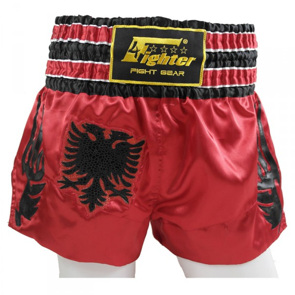 4Fighter Muay Thai Shorts National Shqipëri Albanien im Design der roten Nationalflagge