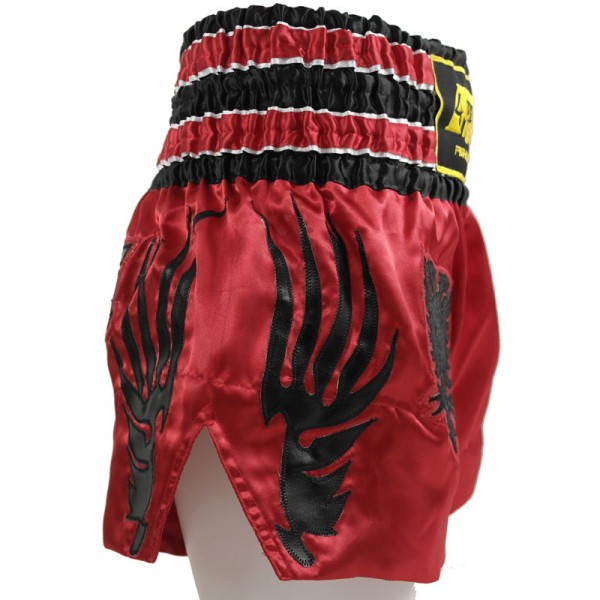 4Fighter Muay Thai Shorts National Shqipëri Albanien im Design der roten Nationalflagge – Bild 3