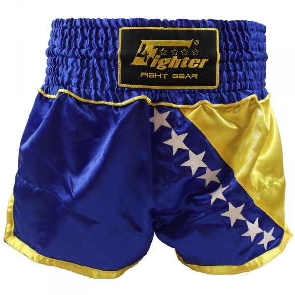 4Fighter Muay Thai Shorts National Bosnien / Bosna im Design der Nationalflagge – Bild 1