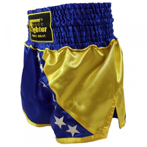 4Fighter Muay Thai Shorts National Bosnien / Bosna im Design der Nationalflagge – Bild 2
