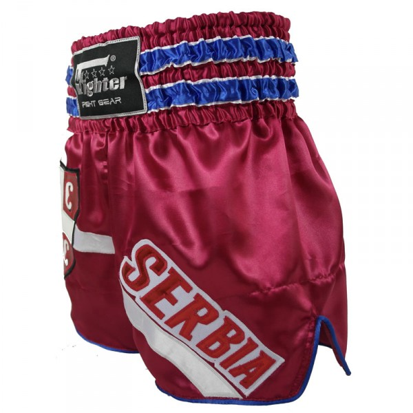 4Fighter Muay Thai Shorts National Serbien im Design des Nationaltrikots – Bild 4