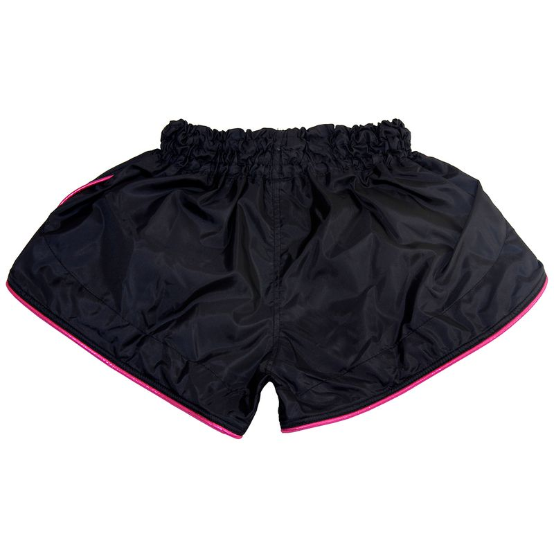 4Fighter Retro Muay Thai Shorts black with pink innovative outlines – image 2