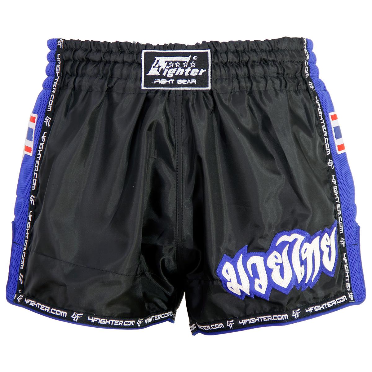 4Fighter Low Waist Muay Thai Shorts schwarz mit blauem Mash und Lining