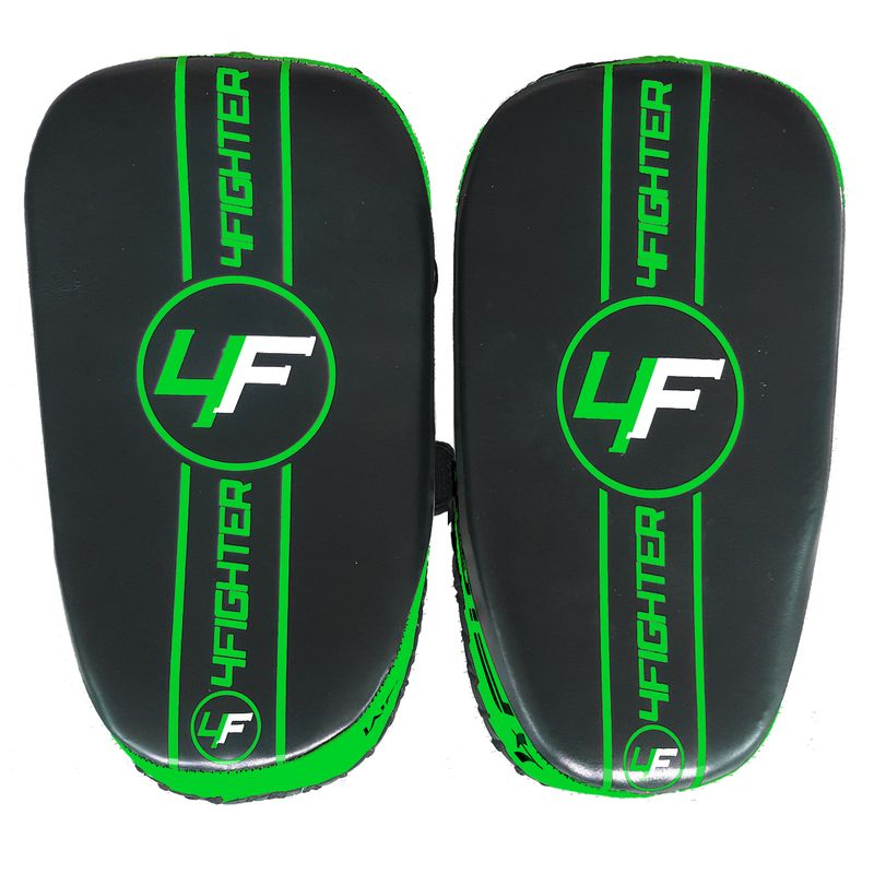4Fighter Thai PAO  Kick Pad Muaythai Kickpads - Leather black-green – image 3
