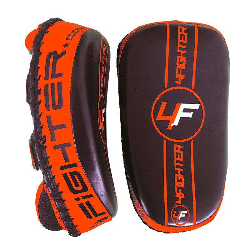 4Fighter PAO Leder Kick Thai Pads Pratzen Handpratzen schwarz-orange – Bild 1