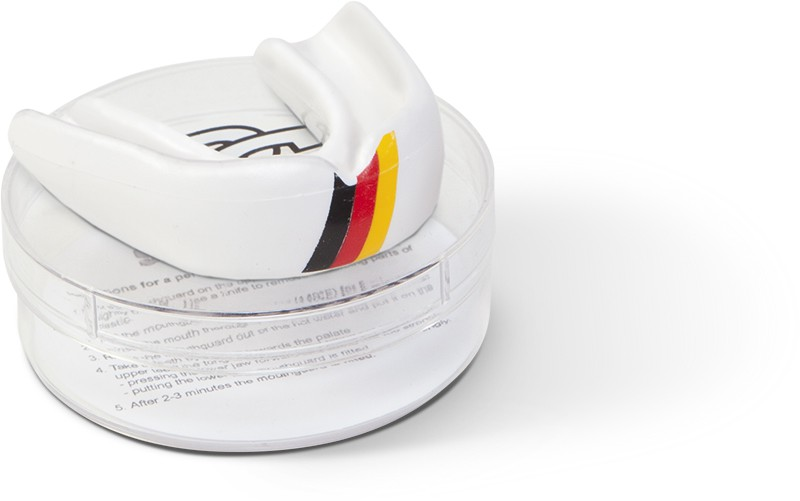 Paffen-Sport Zahnschutz National Deutschland weiß mit schwarz/rot/gelbem Aufdruck
