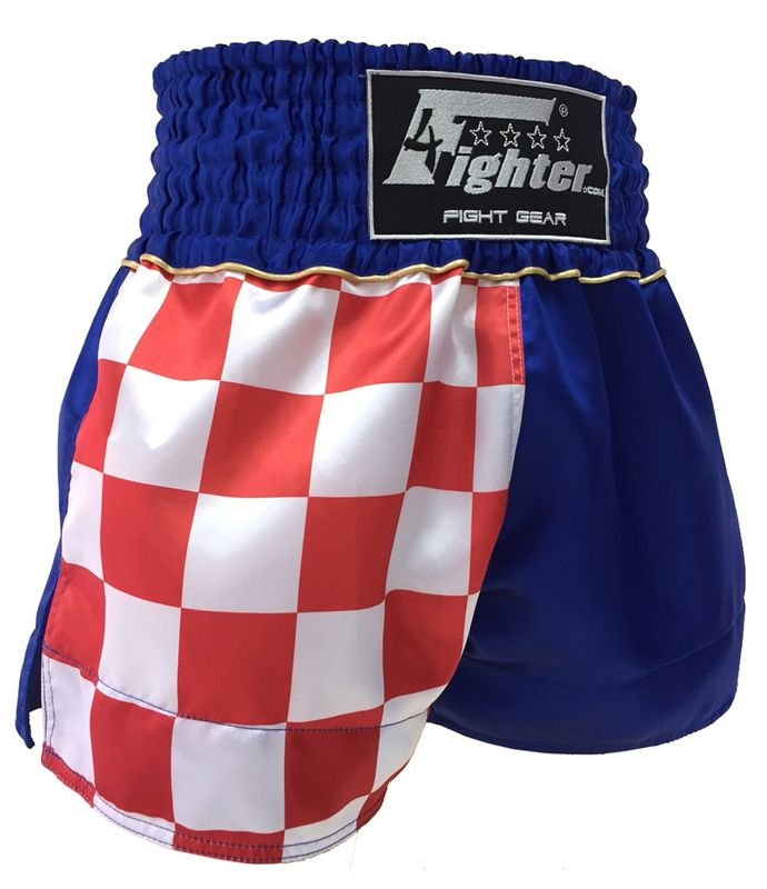 4Fighter Muay Thai Shorts National Croatia - Hrvatska lettering in blue-red-white