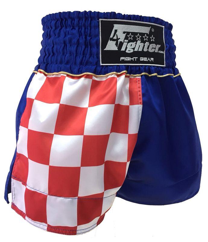 4Fighter Muay Thai Shorts National Kroatien mit Hrvatska Schriftzug und Flagge – Bild 1