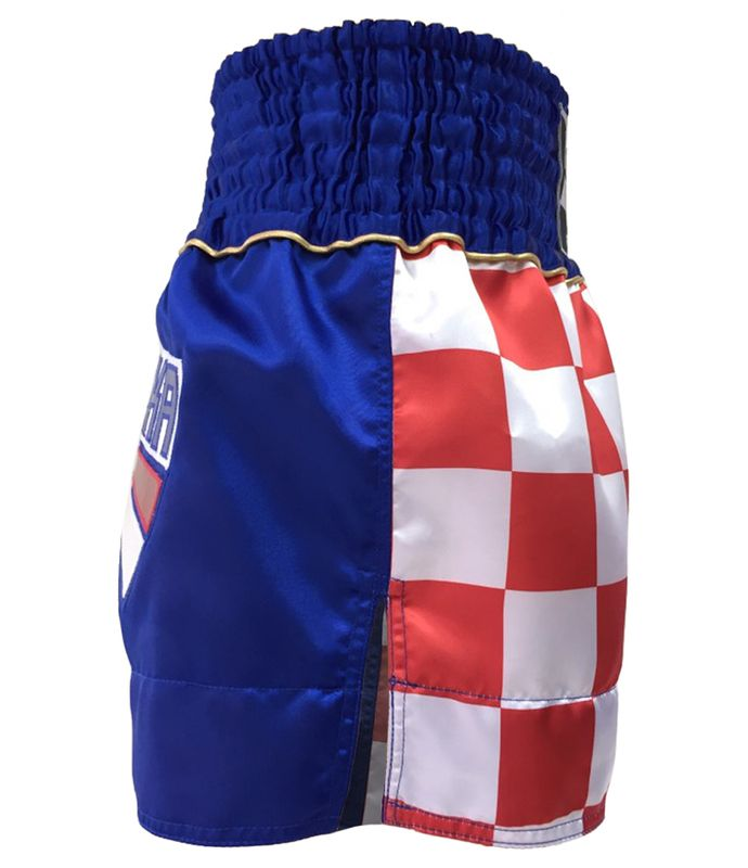 4Fighter Shorts Muay Thai National Croacia azul con la rojo-blanco bandera nacional – Bild 3