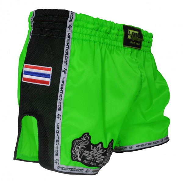 4Fighter Low Waist Muay Thai / Kickboxing Shorts neon green with black Mash sites – image 1