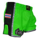 4Fighter Low Waist Muay Thai Shorts de satén neon verde con negro mash