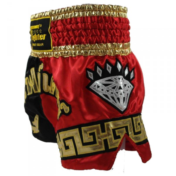 4Fighter Diamant Muay Thai Shorts Kickbox / Thaibox Hose rot schwarz mit 4Fighter in Thaischrift – Bild 2