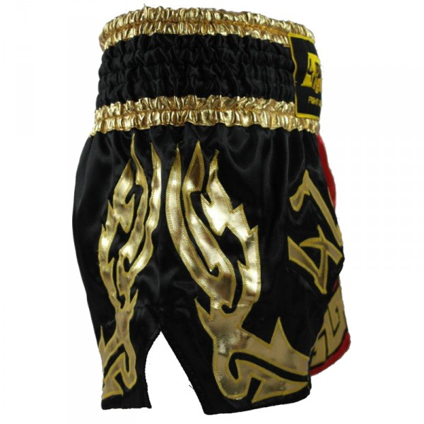 4Fighter Diamant Muay Thai Shorts Kickbox / Thaibox Hose rot schwarz mit 4Fighter in Thaischrift – Bild 4