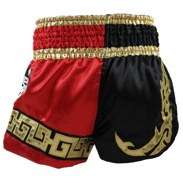 4Fighter Diamant Muay Thai Shorts Kickbox / Thaibox Hose rot schwarz mit 4Fighter in Thaischrift – Bild 3