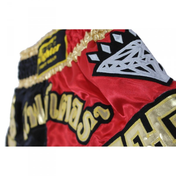 4Fighter Diamant Muay Thai Shorts Kickbox / Thaibox Hose rot schwarz mit 4Fighter in Thaischrift – Bild 5