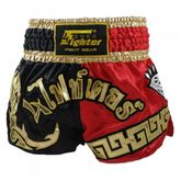 4Fighter Diamant Muay Thai Shorts Kickbox / Thaibox Hose rot schwarz mit 4Fighter in Thaischrift