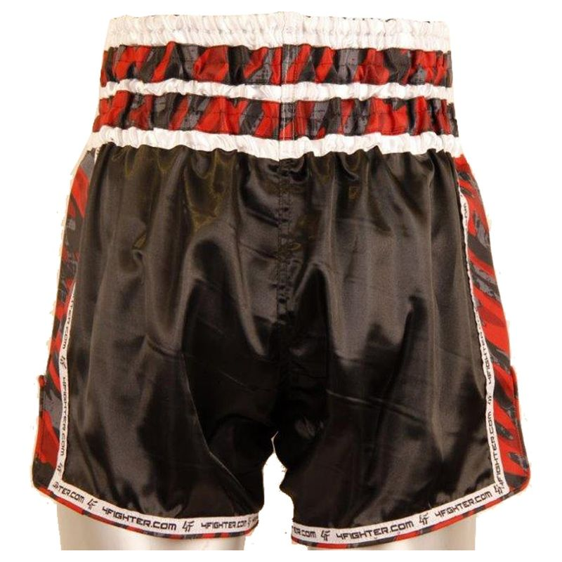 4Fighter Gun's & Skull Shorts Muay Thai / pantalones kickbox negro con páginas camo – Bild 3