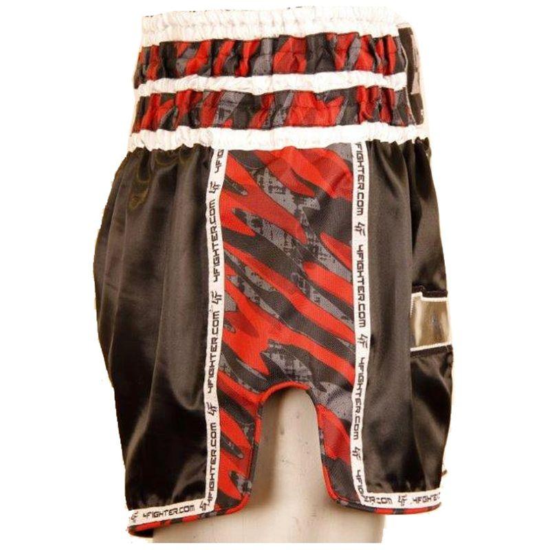 4Fighter Muay Thai Shorts Gun´s & Skull Kickbox Hose schwarz mit seitlichen Schlitzen und coolem Camo Design – Bild 2