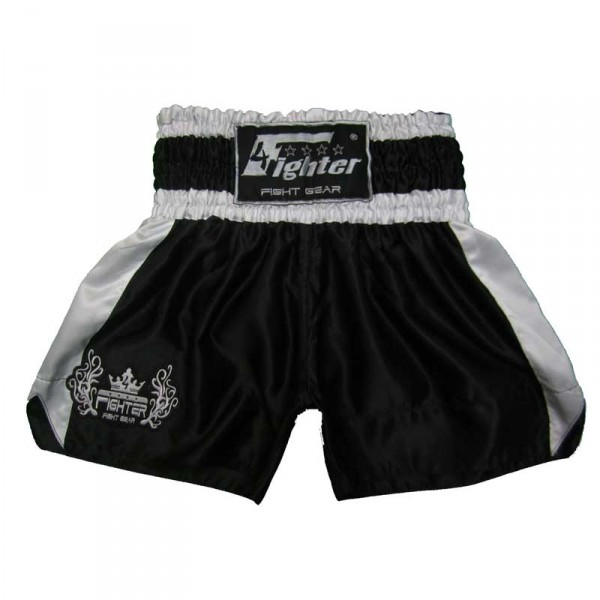 4Fighter Muay Thai Shorts Classic schwarz-weiss mit 4Fighter Tribal Logo am Bein – Bild 1