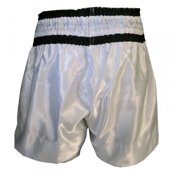 4Fighter Muay Thai Shorts Classic white-black with 4Fighter Tribal Logo on leg – image 2