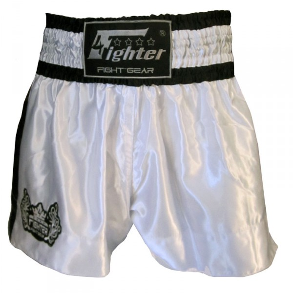 4Fighter Muay Thai Shorts Classic weiß-schwarz mit 4Fighter Tribal Logo am Bein – Bild 1