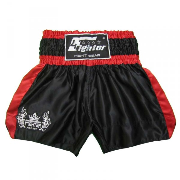 4Fighter Muay Thai Shorts Classic schwarz-rot mit 4Fighter Tribal Logo am Bein – Bild 1