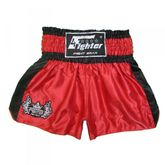 4Fighter Shorts Muay Thai Classic rojo-negro con la 4Fighter logo en la pierna