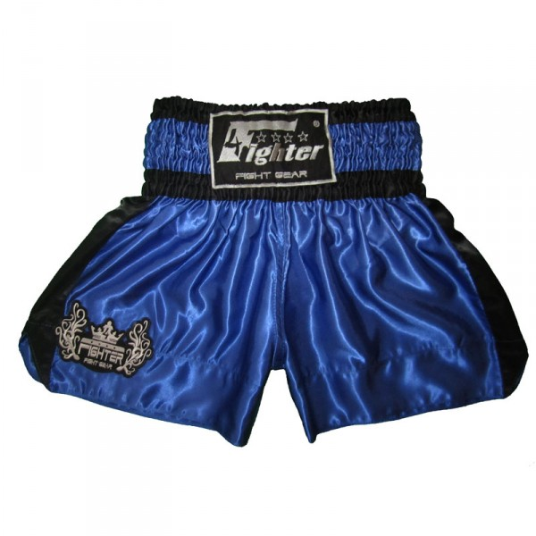 4Fighter Shorts Muay Thai Classic azul-negro con la 4Fighter logo en la pierna – Bild 1